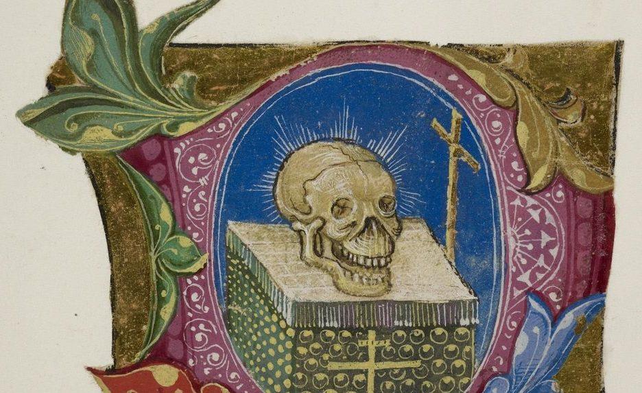 Illuminated manuscript image of a skull and a cross